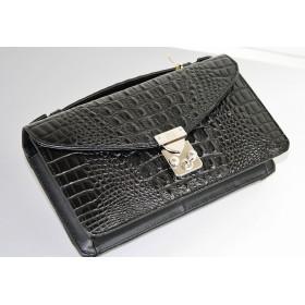 Christina A.G 本牛革リアルクロコ型押し素材使用!背面財布付きミニセカンドバッグ 286 BK