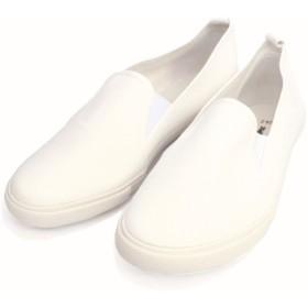メンズ・レディース・キッズ スリッポン キャンバススニーカー ホワイト 25.5cm