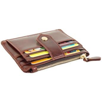 (グビーツ)GUBINTU 革カードケース定期入れクレジットカード身分証明書財布ウォレットイン薄型小銭入れ (ブラウン)