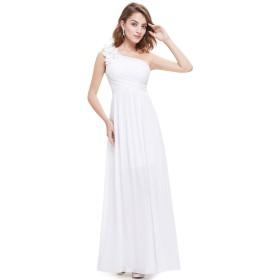 Ever-Pretty レディース ワンショルダー 結婚式ドレス レース フォーマル ワンピース パーティー ドレス ロングドレス 08237