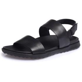 [モリケイ] 黒ブラック コンフォート レザーサンダル メンズ 本革 大きいサイズ オシャレ 夏靴 マジックテープ留め ベルクロ 2点ストラップデザイン 安定するフットベッド 厚底 滑りにくい ビーチサンダル ローマシューズ