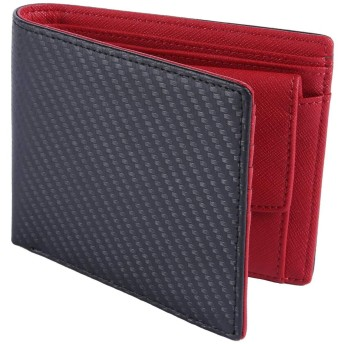 [レガーレ] カーボンレザー 二つ折り財布 メンズ 2つ折り財布 本革 6色(オリジナル化粧箱入り) (レッド)