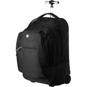 (スイスウィン)SWISSWIN swe1058 ビジネスリュック キャリーバッグ 大容量 大きめ 通学用 旅行バッグ フープ付け 多機能 軽量 バリスティックナイロン ノートPC収納 ブラック