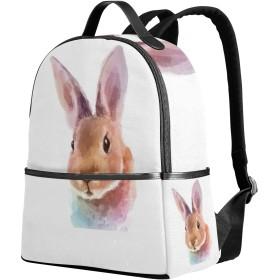 USAKI(ユサキ)かわいい 面白い 動物 ウサギ アート 絵画,人気 通学 通勤 旅行 遠足 カジュアル リュックサック キャンバス バック 中学生 高校生 大学生 帆布 大容量 男女兼用 アウトドア バッグパック デイパック