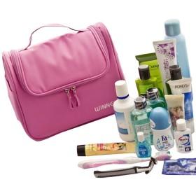VAMIX トラベル ポーチ 洗面 メイク 小物 入れ フック付き コスメ 洗顔 旅行 収納 ケース (ピンク)