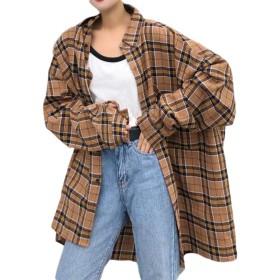 Bestmoodシャツ レディース 長袖 チェックシャツ ゆったり オーバーサイズ トップス 春 原宿系 ファッション 春服 ストリート系(FREESIZEカーキ)