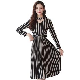 春と秋の服 韓国語版 大きいサイズ 長袖 ファッション スリム 大きな振り子 ロングスカート ストライプドレス ワンピース ストライプ Aライン おしゃれ 清楚 上品 レディース M-3XL (3XL, 黒)