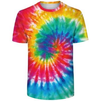 Pizoff(ピゾフ) Tシャツ メンズ 半袖 カットソー 面白い タイダイ染め 人気 ティーシャツ 大きサイズ 夏服AM092-06-XXL