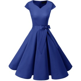Dresstell(ドレステル) スイングワンピース カップ袖 Vネック 50年代 ウィンテージ お呼ばれ 結婚式 フォーマルドレス レディース ロイヤルブルー Sサイズ