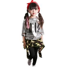 上下3点セット キッズ ヒップホップ ダンス衣装 ダンスウェア 子供用 キッズ 女の子 C_120cm