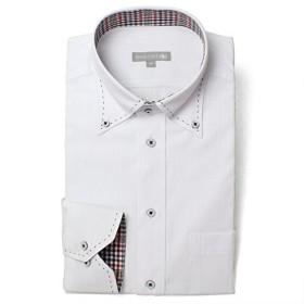 [ドレスコード101] ワイシャツ 長袖 メンズ 襟高デザイン (形態安定生地) SHIRT 2006 ホワイト(ストライプ) 日本 M (日本サイズM相当)