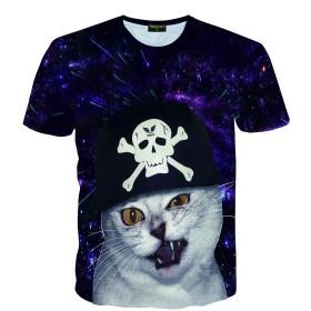 Pizoff(ピゾフ) メンズ Tシャツ 半袖 ネコ柄 ギャラクシー おしゃれ モード スリム ユニセックス 普段着 ストリート カットソー-AC145-66-XL