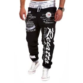 (ミネサム)Minesam メンズ 運動風パンツ カッコイイ 文字柄 スタイリッシュ 男性パンツ オシャレ 快適 大注目 ロングパンツ ブラック+グレー 2XL