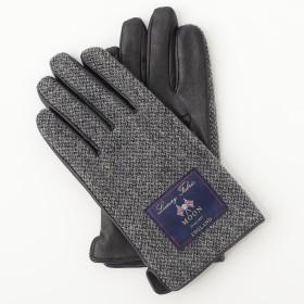 【ムーンツイード】MOON TWEED メンズ スマホ対応 手袋 レザー AY-16AA0025(グレー x ブラック)