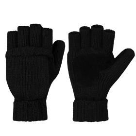 VBIGER 手袋 ミトン 2way手袋 メンズ レディース スマートフォン対応 指なし ニット 冬用グローブ (ブラック)