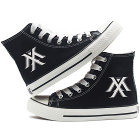 [Fanstown] KPOP 韓流 ロゴと特殊マーク ハイトップスニーカー スニーカー デッキシューズ 黒靴 (MONSTA X)
