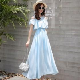 送料無料 夏 ワンピース おしゃれワンピース ふんわり 無地 レディースワンピース 半袖 韓国 ファッション プチプラ