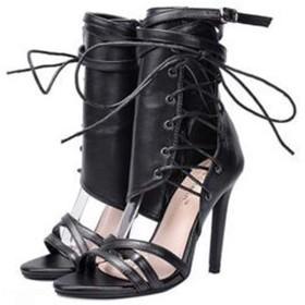 [TRVELBETT] サマーブーツ ブーツサンダル サンダル レディース レースアップ 痛くない 脱げない 靴 美脚 疲れにくい ピンヒール ハイヒール ヒール 大きいサイズ パンプス (24.0cm(38), ブラック)