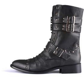 [Florai-JP] ブーツ ショートブーツ サイドジップ サイドジッパー マーチン メンズ 靴 本革 ブラック ベルト boots ショート ブーツ ジップー ドレープ 裏起毛 防寒 冬