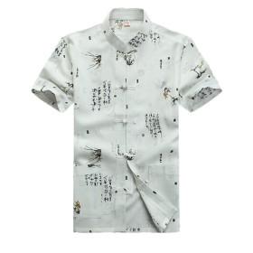 (ジ-ライク)G-like メンズ 唐装 半袖 上着 中華風 夏 太極拳服 お父さん シャツ (ホワイト, XXL)