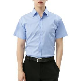 【WSTYLE】 メンズ シンプル 無地 半袖 ストレッチ シャツ_BLUE_M