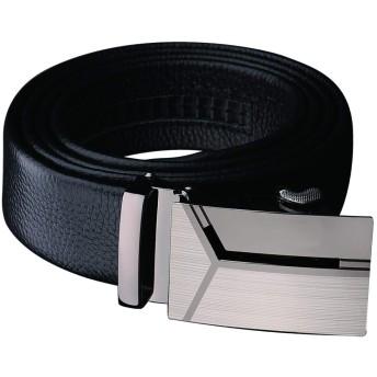 SUKESEM ベルト メンズ ビジネス 紳士 革 ブラック オートロック式バックル レザー 紳士 穴無し カジュアル ロング サイズ調整可能 (125cm) (Style-3ロングサイズ125CM)