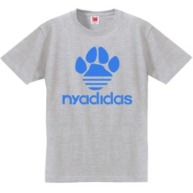 猫 おもしろ Tシャツ nyadidas 誕生日 プレゼント 雑貨(グレー XL)