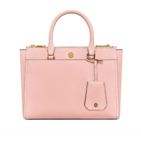 TORY BURCH ROBINSON SMALL DOUBLE-ZIP TOTE PALE APRICOT/ROYAL NAVY