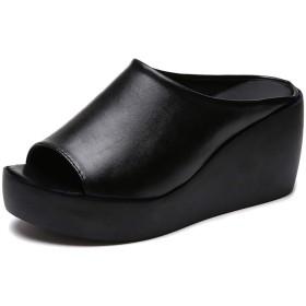 [マインサム] 厚底サンダル レディース ウェッジソール オープントゥ サボ クロッグ ミュール スリッパ 黒 白 歩きやすい ブラック 23.0cm