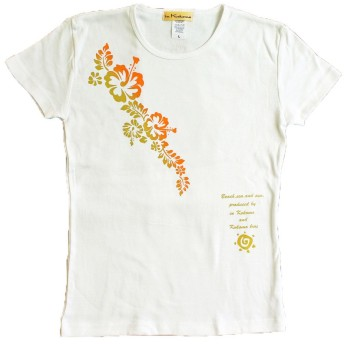 ハイビスカス オレンジグラデ Tシャツ フラ in Kokomo 【lt035】 1(S, ホワイト)
