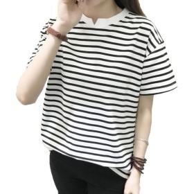 MengFan レディース 半袖 tシャツ ストライプ 長袖シャツ 半袖 シャツ 綿 上着 ゆったり 丸首 通勤 半袖シャツ半袖ブラックC