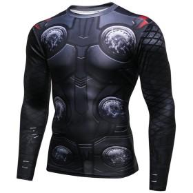 NINI メンズ スポーツウェア マイティ・ソー Tシャツ 吸汗速乾 スポーツ tシャツ 3D高品質プリント 長袖tシャツ
