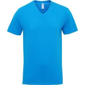 (ギルダン) Gildan メンズ プレミアムコットン Vネック 半袖Tシャツ 無地Tシャツ トップス 定番 男性用 (M) (サファイア)