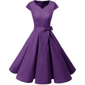Dresstell(ドレステル) スイングワンピース カップ袖 Vネック 50年代 ウィンテージ お呼ばれ 結婚式 フォーマルドレス レディース パープル Lサイズ