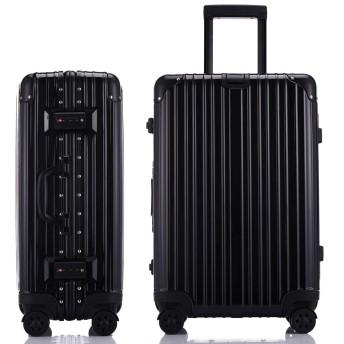 JINXIANGMEスーツケースアルミニウムマグネシウム合金フレーム 機内持ち込みスーツケース 預け入れスーツケース厚手 耐摩耗TSAロック 静音キャスター海外旅行 SZ-6007 (M, ブラック)