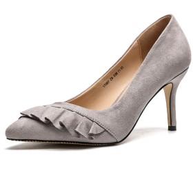 [つるかめ] パンプス レディース 結婚式 冠婚葬祭 脱げない 歩きやすい 美脚 8㎝ヒール シューズ 24.0cm グレー