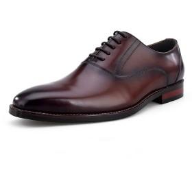 [GoFeet] ビジネスシューズ 本革 メンズ 革靴 内羽根 紳士靴 (26.5 cm, コーヒー)