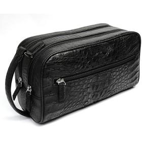 【最高品質】ワニ革使用のセカンドバッグ クロコダイル カイマン ブラック メンズ