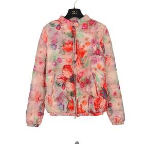 レディース 花柄ダウンジャケット 冬コート 暖かい パッド入りジャケット スリムタイプ 可愛いスカーフ付き ST053 (L)