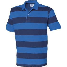 (フロント・ロウ) Front Row メンズ ストライプ 半袖ポロシャツ ピケポロシャツ トップス カットソー 男性用 (XL) (ブルー/ネイビー)