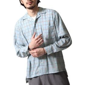[ジップファイブ] ZIP FIVE 長袖 オープンカラーシャツ 開襟シャツ メンズ 17110 24TURQUOISECHECK M