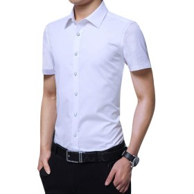 Jearey ビジネスシャツ メンズ シャツ オックスフォードシャツ ワイシャツ ドレスシャツ 半袖 無地 ビジネス フォーマル ユニフォーム 制服 結婚式 大きいサイズ 紳士 ホワイト 白 ブラック 黒 7カラー S-4XL