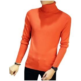 Candiyer メンズセーター基本タートルネックリラックス冬冬ニットシャツ Orange S