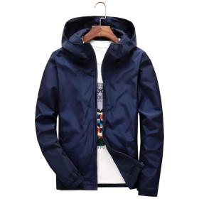 NOQINHOO メンズ ジャケット 軽量 防風 通気 カジュアル 防寒着 アウター マウンテンパーカー 大きいサイズ 無地 長袖 春秋 全7色 S~7XL (5XL, ダークブルー)