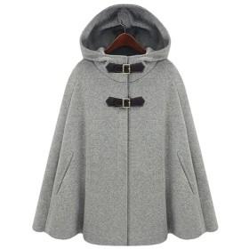 レディース コート アウター 防寒 ポンチョ ケープ フード付き カジュアル ウール ゆったり マントコート 着痩せ 防寒ジャケット 通勤 仕事 大人 ファッション 無地