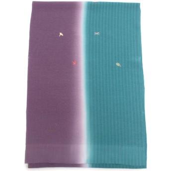 きもの京小町 帯揚げ 正絹 二色 染分け 刺繍 レディース アクアマリン×紫
