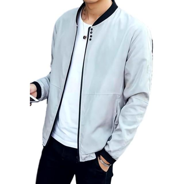 (ナガポ)NAGAPO メンズ ジャケット MA-1 薄手 大きいサイズ ジップアップ 軽量 シンプル デザイン (グレーL)