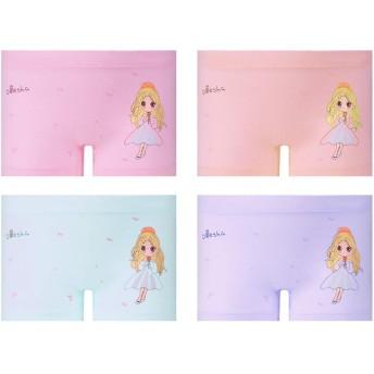 【4枚セ ット】女児 下着 綿 ショーツ キッズ ボクサー 子供 ガールズ ジュニア 幼児 小学生 高通気性 伸縮性 肌にやさしい (L(90~115CM), 8301)