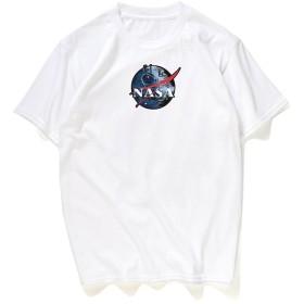 [pizoff by zero] メンズ Tシャツ 半袖 ホワイト 宇宙 プリント おもしろ ストリート ファション 夏着Y1867-white-L