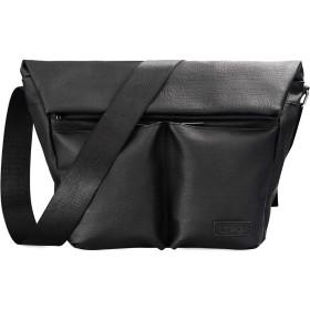 Douguyan メンズ バッグメッセンジャーバッグ 斜めがけ 大容量 A4サイズ対応 防水 PUレザー ショルダーバッグ 収納抜群 モダン ファッション 通勤 通学 ブラックG00335